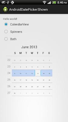 Options for DatePicker to display or hide calendar view and spinners
