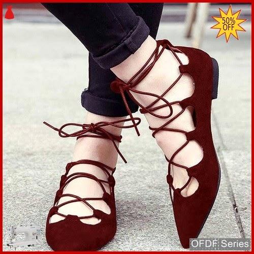 OFDF204 Sepatu Flat Cantik Balet Lace Up BMGShop