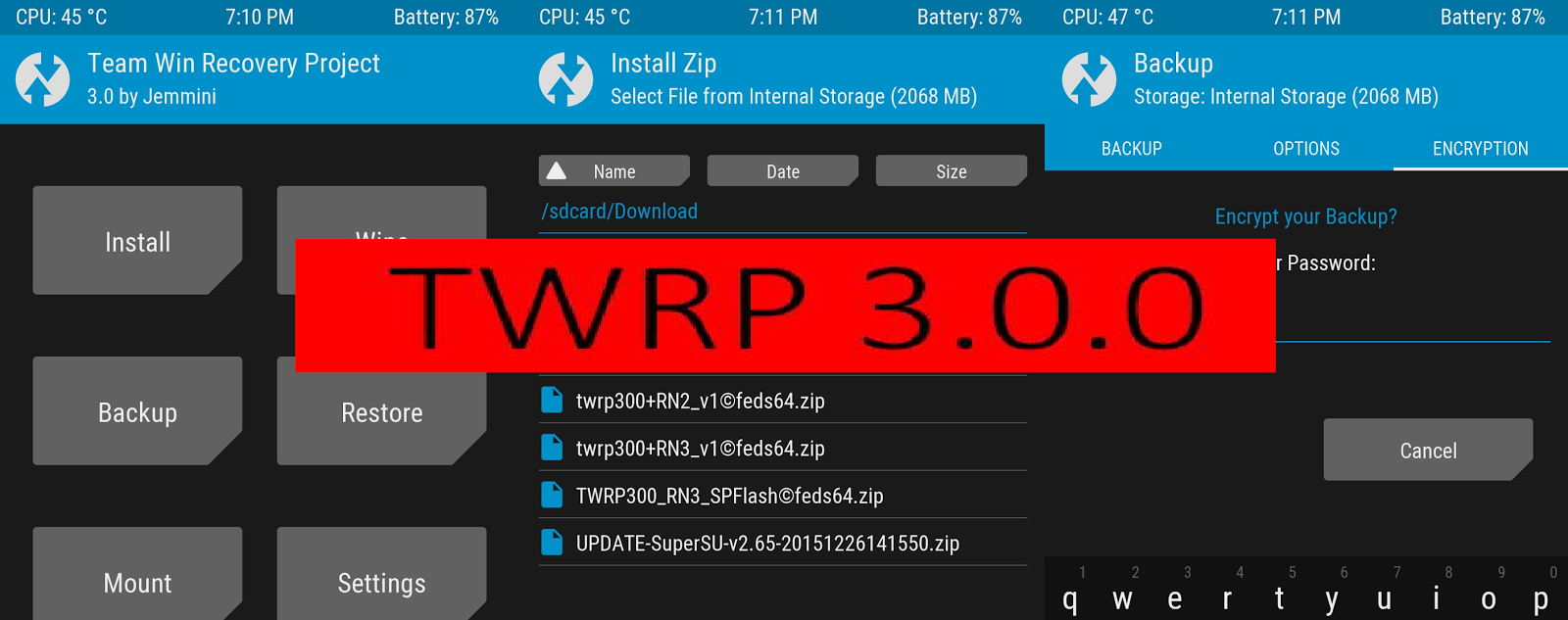 Any mobile under the sun: TWRP 3 0 0, SuperSU Rooting