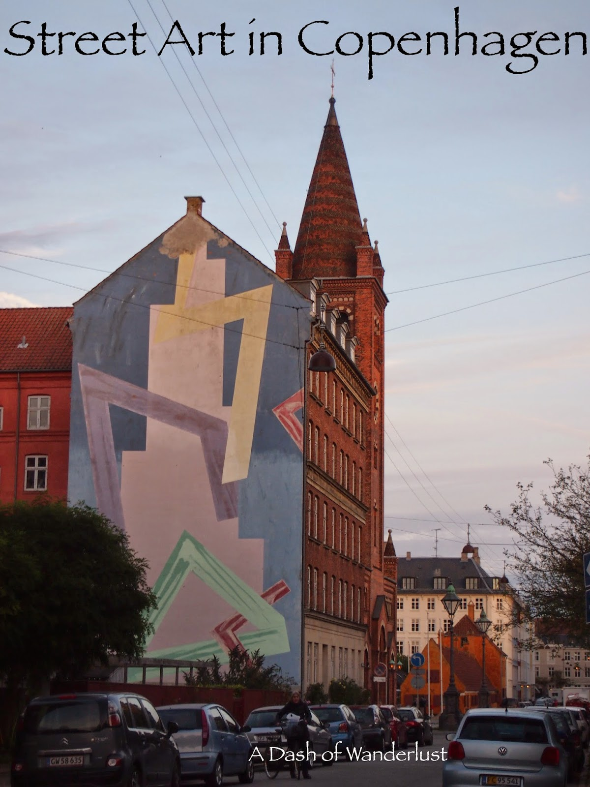 geometric street art covering the side of a building in Copenhagen