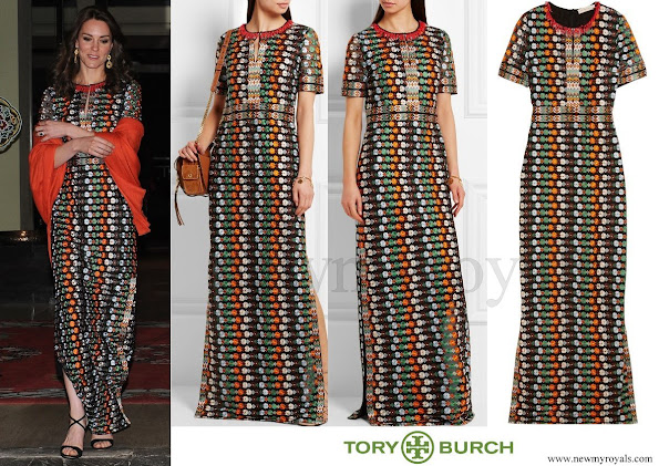 Kate Middleton wore Tory Burch Floral Mesh Gown