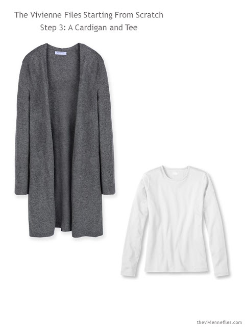 A grey cardigan and white tee shirt for a capsule wardrobe