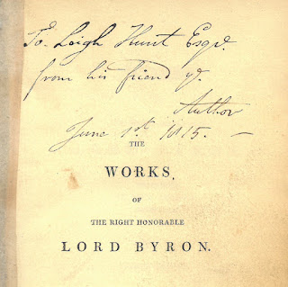 "Image of inscription on flyleaf of the Works of Lord Byron. The inscription reads: ""To Leigh Hunt from his friend the Author. June 1st, 1815."