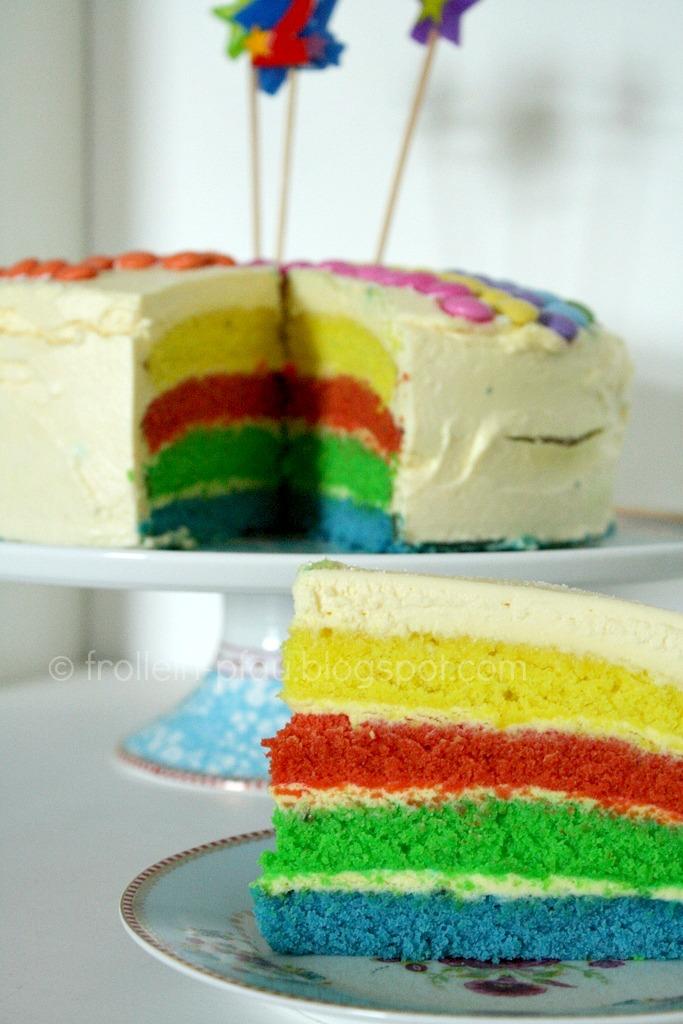 Mittwochs mag ich, Mmi, Frollein Pfau, Regenbogenkuchen, Regenbogentorte, Rezept