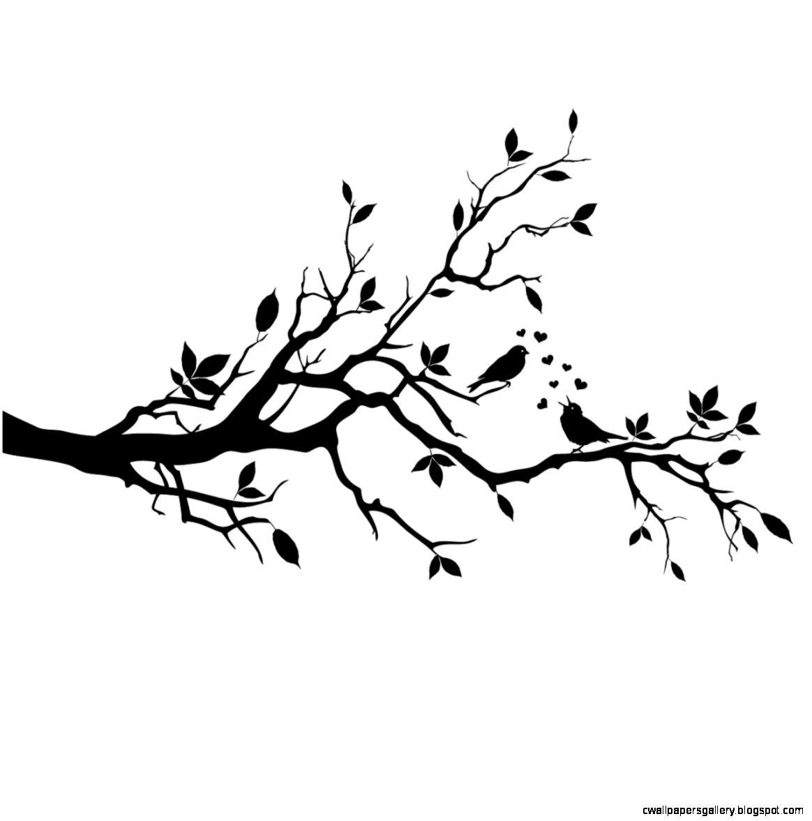 Love Birds On Branch Silhouette
