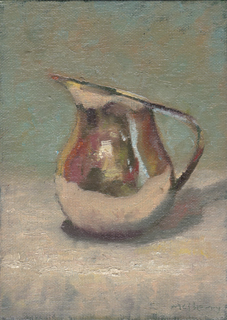 "A postcard size daily painting in oils on canvas board of a silver jug on white linen with reflections. 5"" x 7"". Green grey."