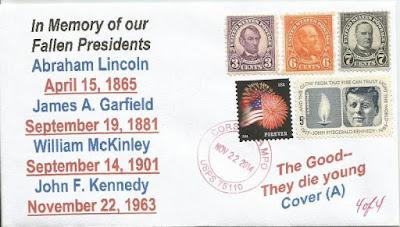 selos comemorativos dos presidentes dos EUA assassinados