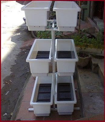 Kệ trồng rau 3 tầng dùng 6 chậu trắng