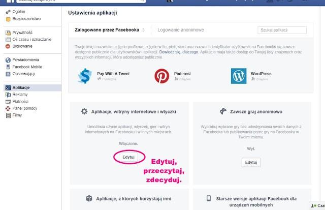 prywatność aplikacji ustawienia facebook