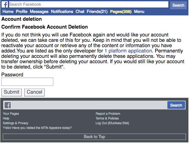 Delete Facebook Permanently Screenshot