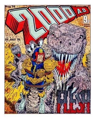 2000 AD Prog 74, Judge Dredd vs dinosaurs