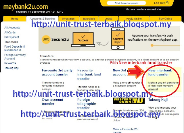 Cara Top Up Unit Trust CWA guna maybank2u