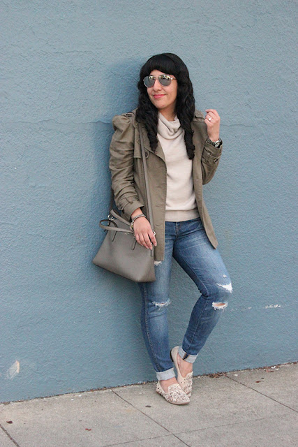 BB Dakota Short Trench and Madewell Ripped Jeans Outfit