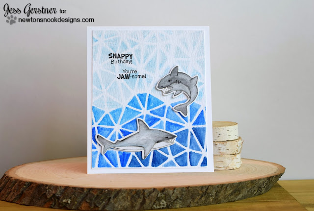 Shark Birthday Card by Jess Gerstner for Newton's Nook Designs