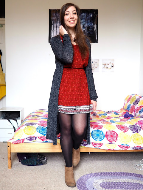 Arthur from The Sword in the Stone Disneybound - outfit of red patterned dress, long grey cardigan, black tights & brown ankle boots