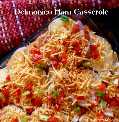 An easy winter meal, Delmonico Ham Casserole is a deliciously cheesy dinner that preps in minutes. | Recipe developed by www.BakingInATornado.com | #recipe #dinner