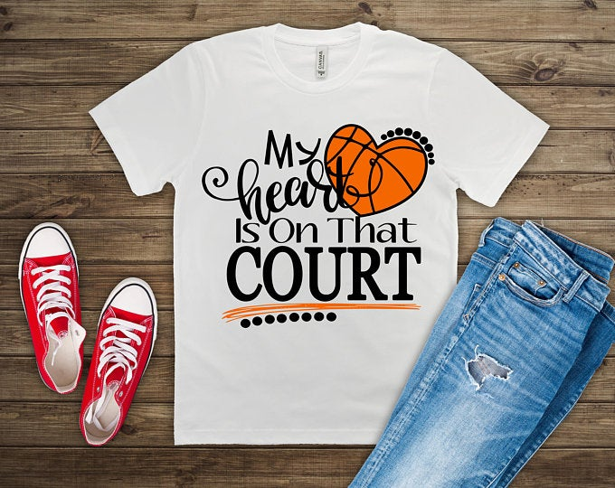 Is your heart on a basketball court? Wear this shirt to the game and support your favorite player.
