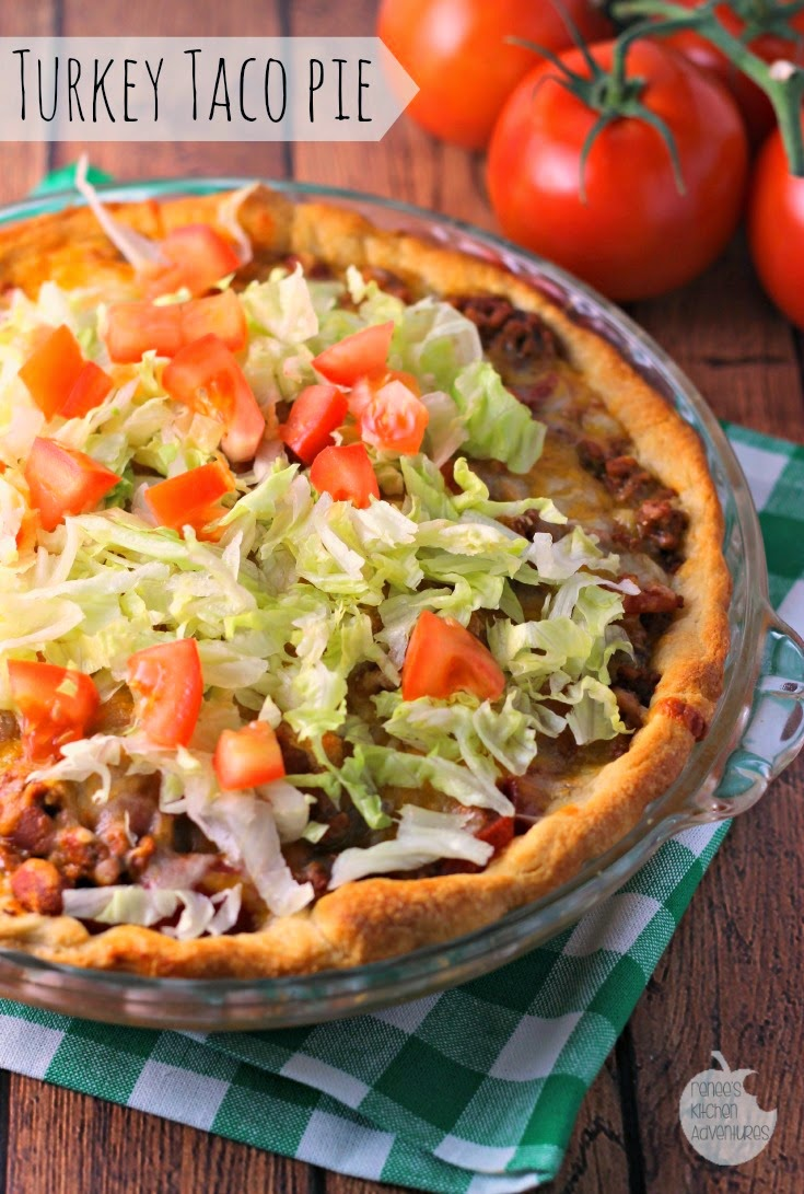 Turkey Taco Pie | Renee's Kitchen Adventures: If you love tacos, you MUST make this easy recipe tonight!