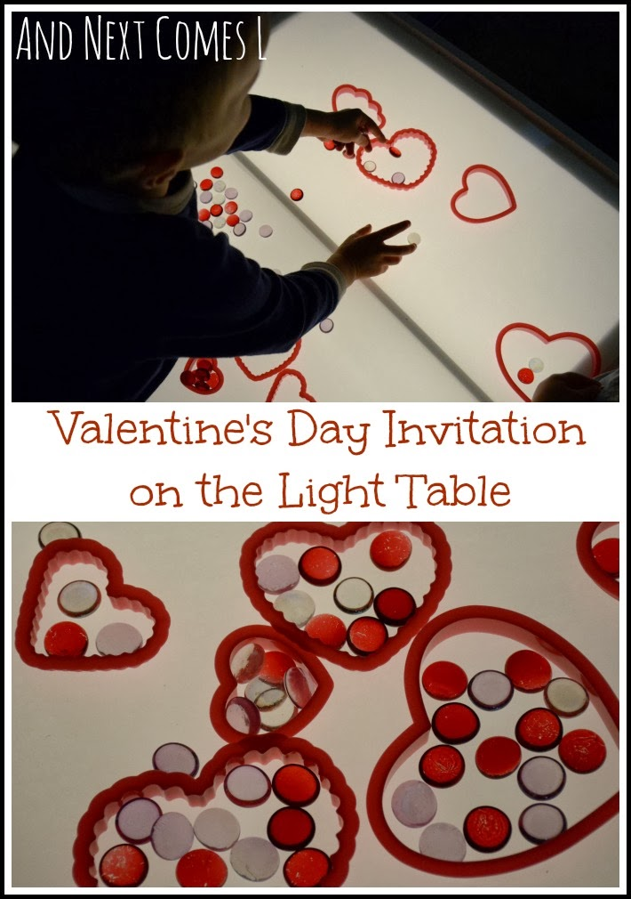 Valentine's Day invitation to play on the light table from And Next Comes L