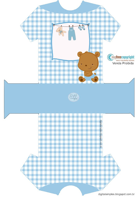 Baby Boy Bear: Free Printable Baby Shirt Shaped Box