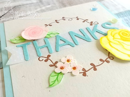 Floral Thank you Card by Naki Rager | Love Grows Stamp Set and Essential Alphabet Die Set by Newton's Nook Designs #newtonsnook #handmade