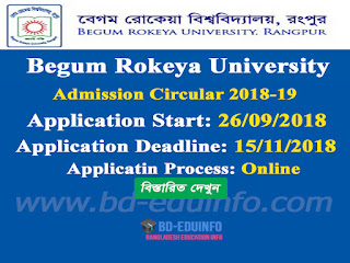 Begum Rokeya University Admission circular 2018-2019