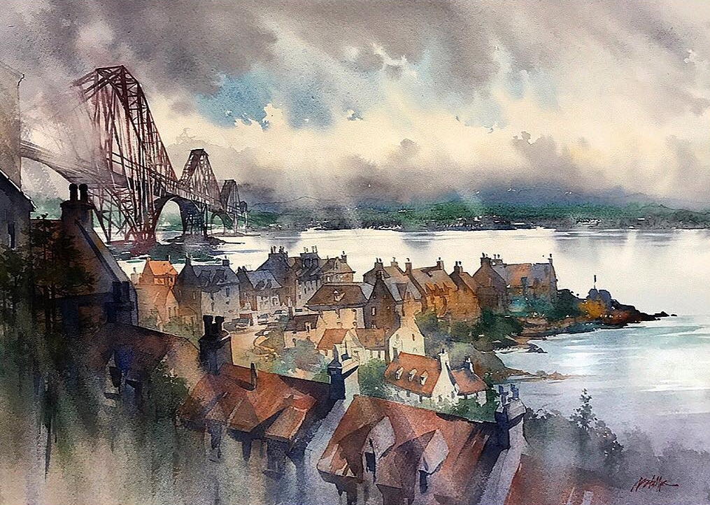 09-Rainy-Day-North-Queensferry-Thomas-Schaller-Watercolor-Paintings-Indoors-and-Outdoors-www-designstack-co