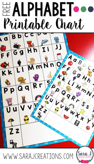 Free printable alphabet charts in multiple sizes