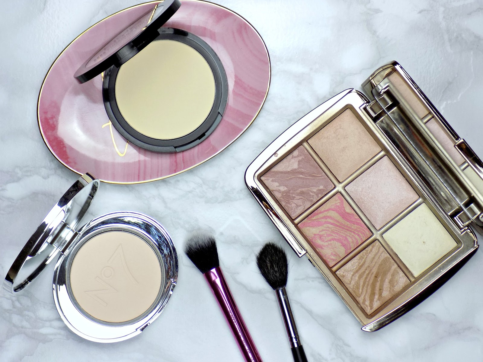 best under eye setting powders, No7 Airbrush Away Translucent Powder, NYX HD Finishing Powder in shade Banana, Hourglass Ambient Lighting Powder in shade Diffused Light,