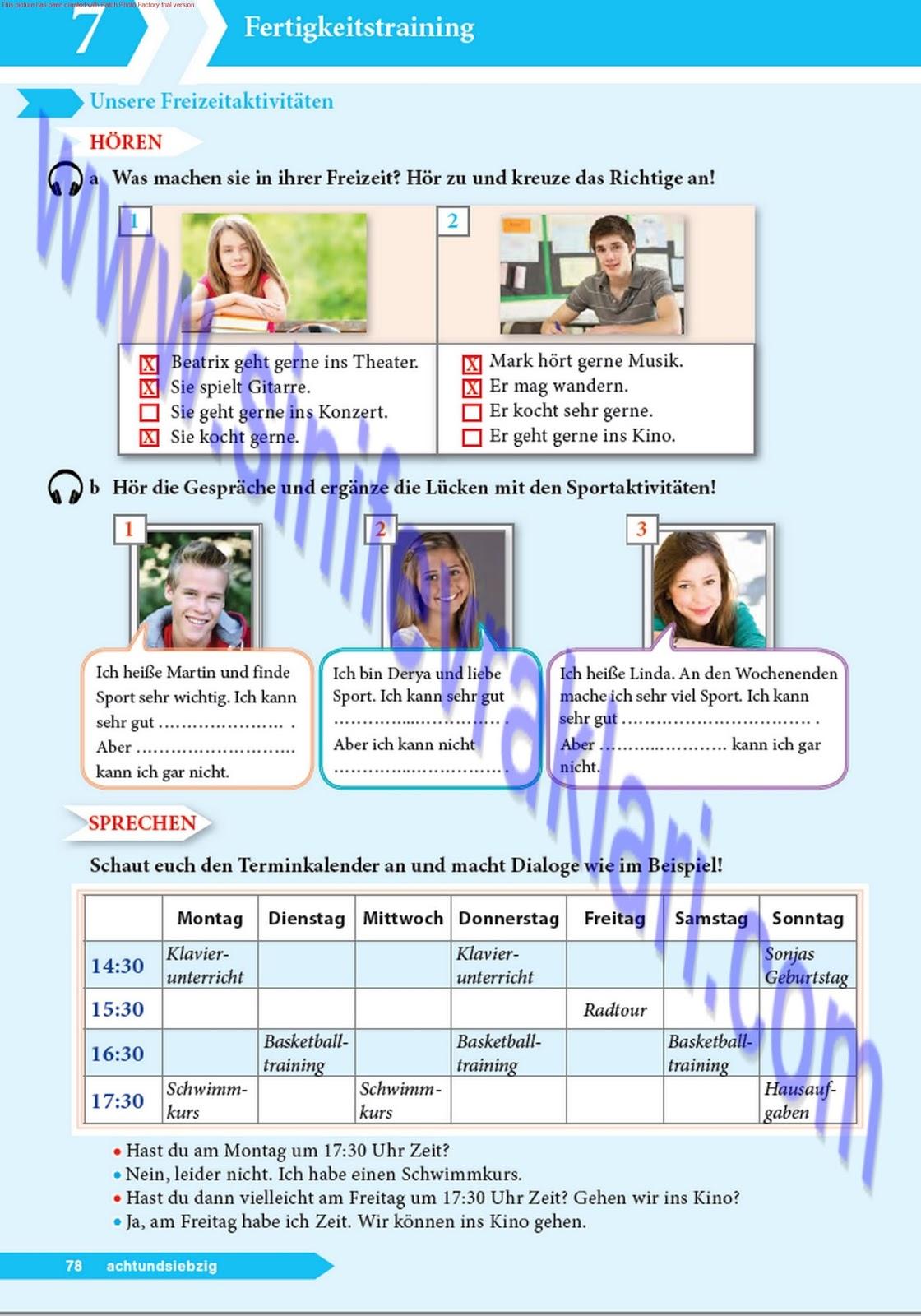 9 Sınıf Almanca A11 Ders Kitabı Cevapları Sayfa 78 Ders Kitabı