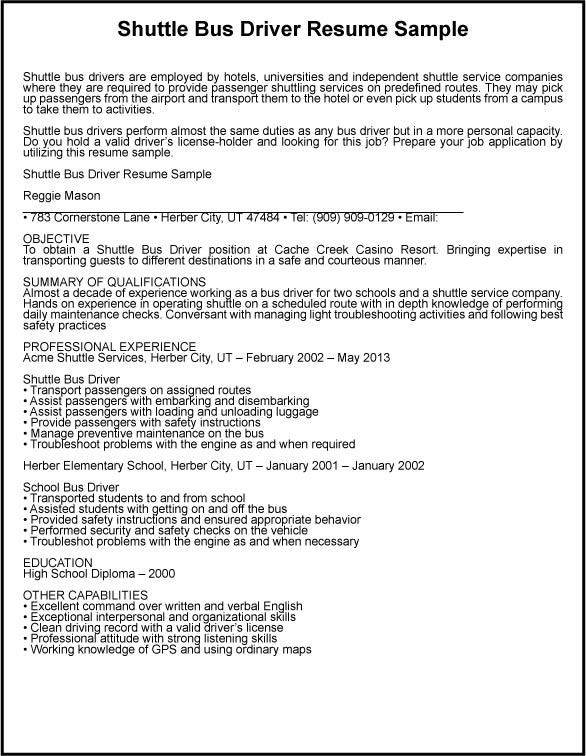 Coach Driver Cover Letter - truck driver sample resume