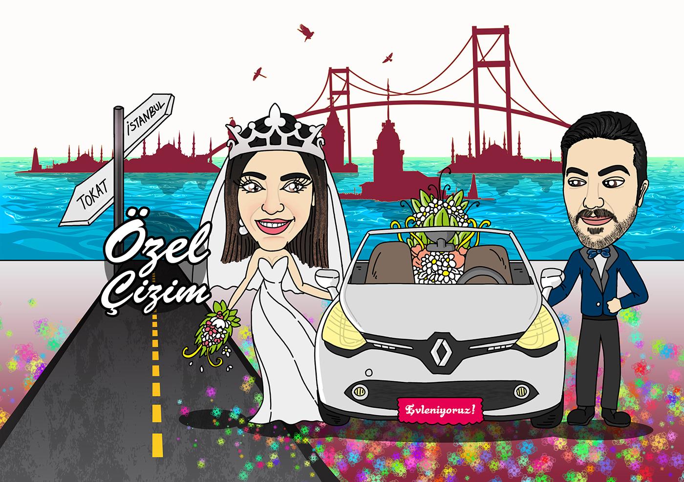 düğün davetiyesi, özel düğün davetiyesi, düğün davetiyeleri, davetiye fikirleri, ucuz güzel davetiye fikirleri, davetiye alternatifleri, karikatürlü davetiye, davetiye çizim, eğlenceli davetiye,