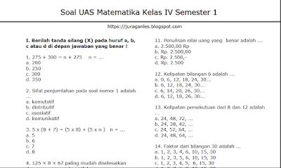 Soal UAS PAS Matematika Kelas 4 Semester 1, https://infoloker12.com