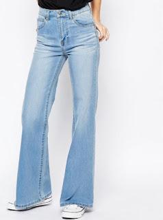 Dr Denim high waist light blue denim flare jeans