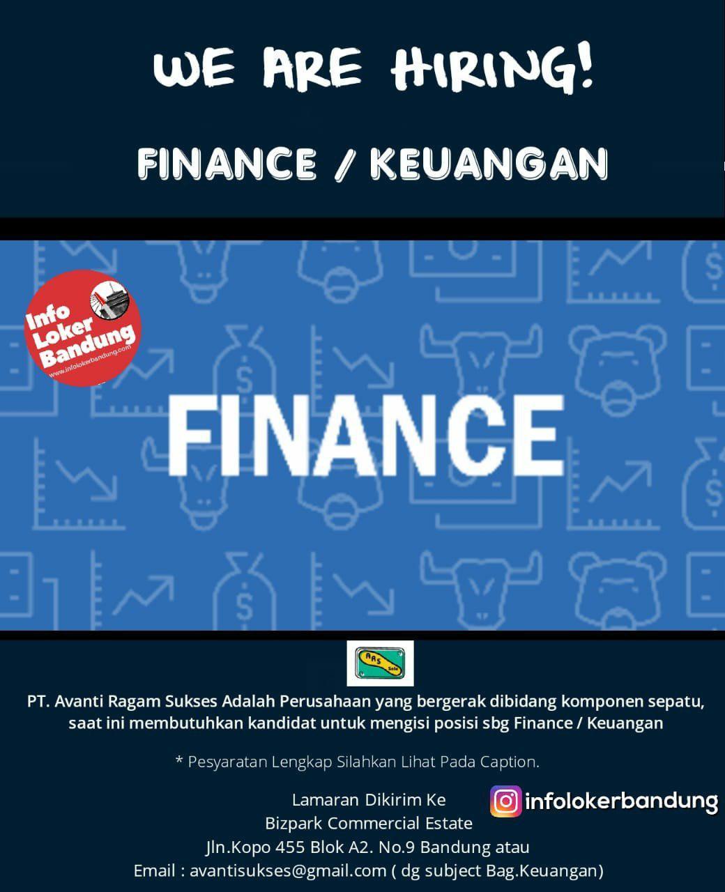 Lowongan Kerja Bagian Keuangan PT Avanti Ragam Sukses (ARS SOLE) Bandung Januari 2019