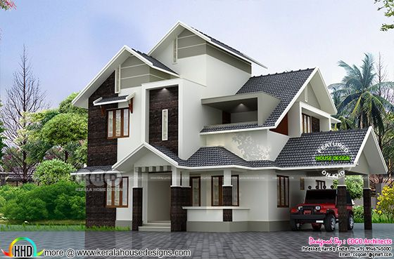Grey color sloping roof house rendering