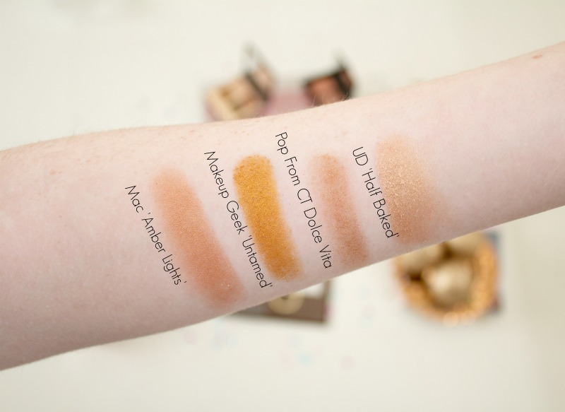 Gold eyeshadow swatches