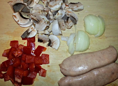 Omelette ingredients; peppers, sausages, mushrooms, onion