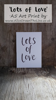 Lots of Love A5 Art Print by Alice Draws The Line