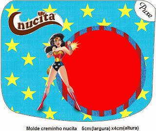 Etiqueta Nucita de Mujer Maravilla para imprimir gratis.