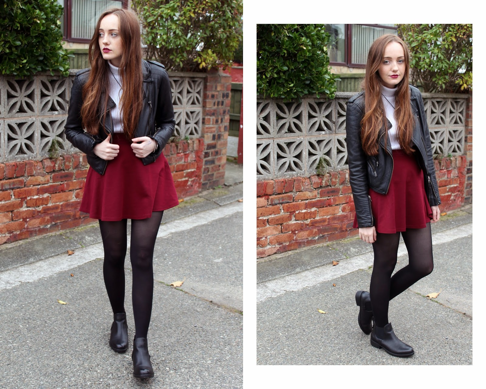 OOTD featuring black faux leather warehouse jacket, white rib knit poloneck from ASOS, yin yang necklace, burgundy skater skirt and black chelsea boots from get the label
