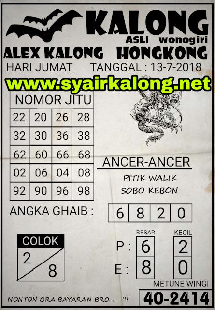 Kode Syair HONGKONG 13-07-2018