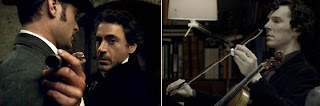Robert Downey Jr and Benedict Cumberbatch as Sherlock Holmes