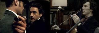 Robert Downey Jr and Benedict Cumberbatch as Sherlock Holmes
