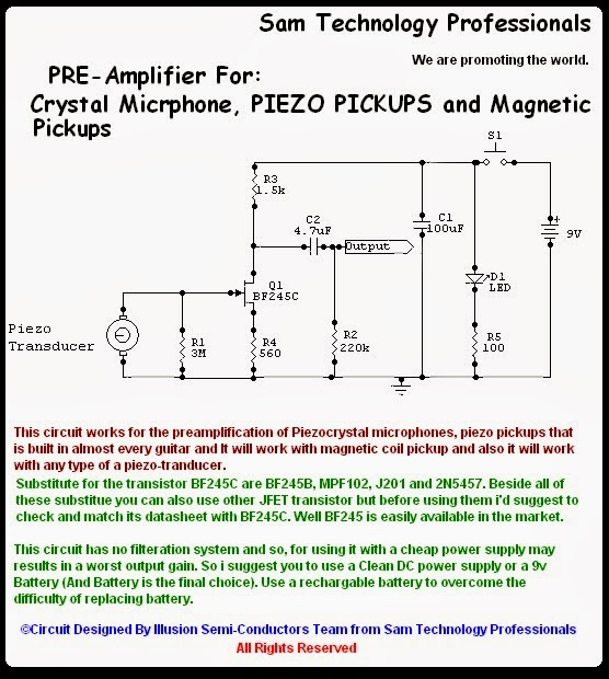 Electric Guitar Pickup Wiring Diagram Stihl 015 Parts Sam Technology Professionals: Build A Preamp For Piezo Pickup,crystal Mic (easily)