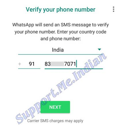 Enter GB Whatspp number