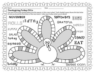 The Puzzle Den - Thanksgiving Turkey Fill In - Harder Version