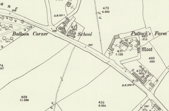 OS 25-inch map published in 1898 showing Balloon Corner, Welham Green Image courtesy of the National Library of Scotland Released under Creative Commons BY-NC-SA 4.0