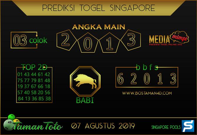 Prediksi Togel SINGAPORE TAMAN TOTO 07 AGUSTUS 2019