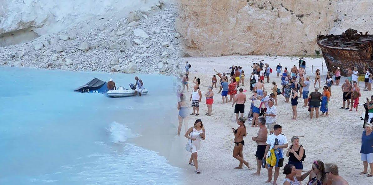 Zante (Grecia): Frana la scogliera sulla spiaggia del Navagio.